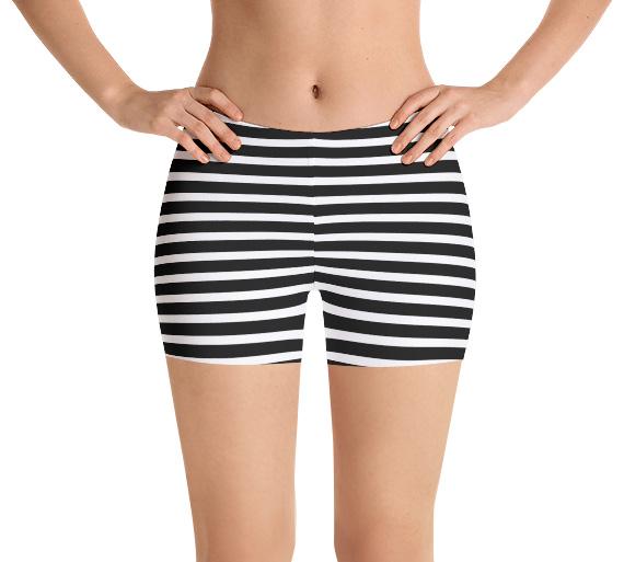 Black & White Stripes Sports Running Jogging Exercise Shorts