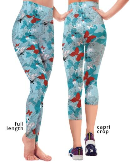 Blue Butterfly Yoga Leggings Capri exercise Pants