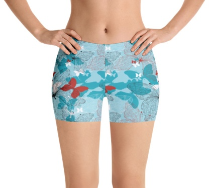 Blue red butterfly running shorts yoga shorts exercise shorts