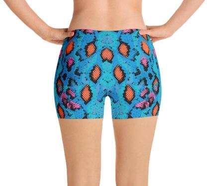 Blue Snakeskin running shorts yoga shorts exercise shorts