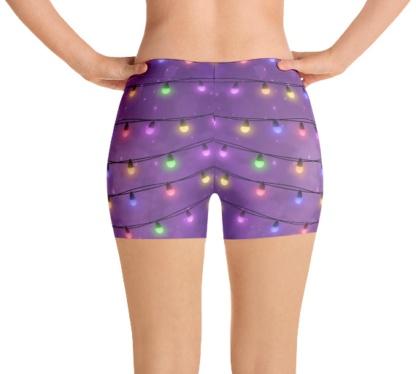 Holiday Christmas Lights exercise running shorts