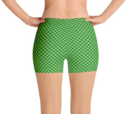 Green Shamrock Plaid St Patrick's Day exercise running shorts