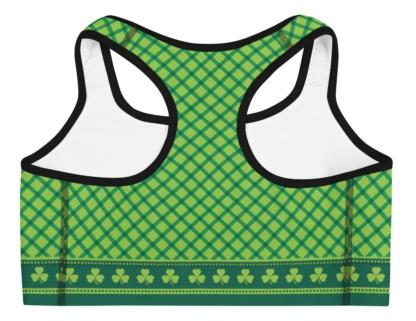 Green Shamrock Plaid St Patrick's Day exercise sports bra