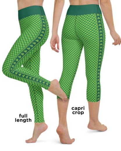 Green Shamrock Plaid St Patrick's Day Yoga Leggings