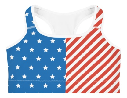 American flag sports bra for jogging, running and yoga