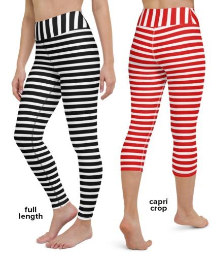 red black and white striped yoga leggings stripe exercise pants