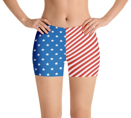 American Flag 4th of July Running Jogging Shorts for Exercise