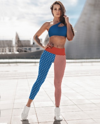 American Flag 4th of July Yoga Leggings Exercise