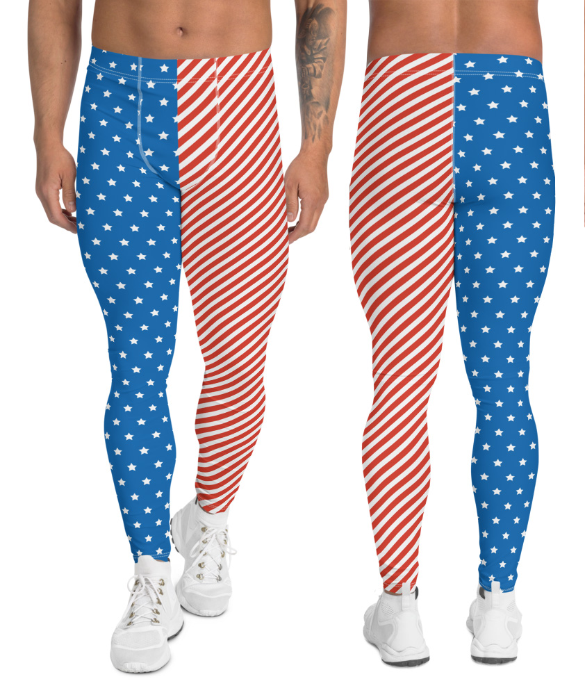 Men's American Flag Leggings 4th of July Exercise Pants