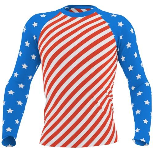 American Flag Long Sleeve Rash Guard for Men