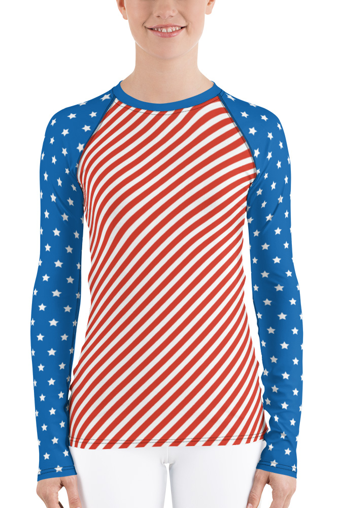 American Flag Long Sleeve Rash Guard for Women