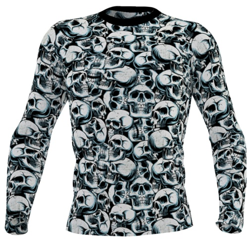 Halloween Catacomb Skulls exercise running surf top rash guard for men / boys