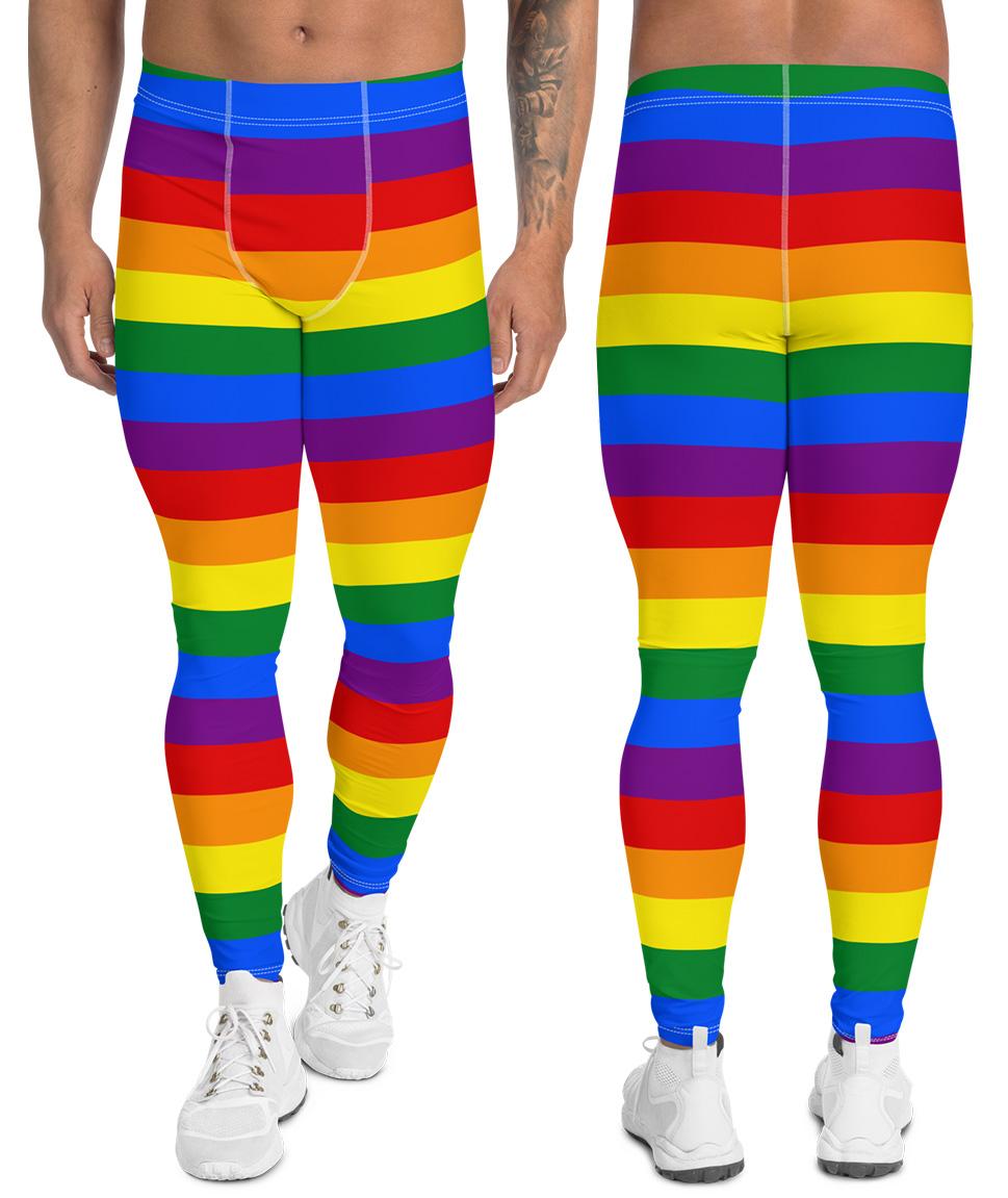 9688bd47b6 Gay Pride Flag Leggings For Men - Sporty Chimp legging