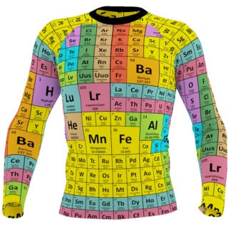 Periodic Table of Elements Long Sleeve Men's Rash Guard Chemistry Chemical Boys Surfing Surf Top Exercise