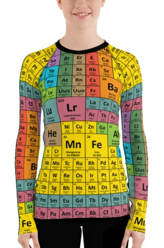 Periodic Table of Elements Long Sleeve women's Rash Guard Chemistry Chemical girls Surfing Surf Top Exercise