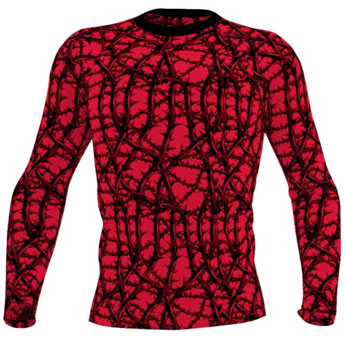 Gothic thorn & vine red Long Sleeve Rash Guard for Men