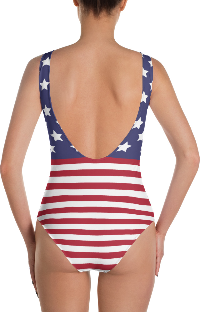 American Flag One Piece Bathing Suit 4th of July Fourth