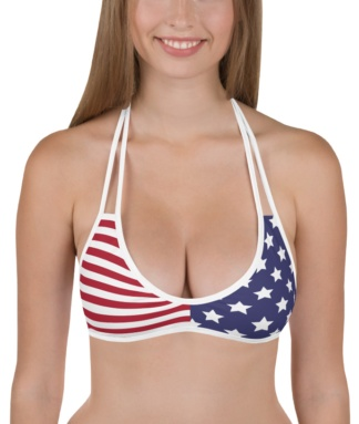 american flag fourth of july reversible bikini top