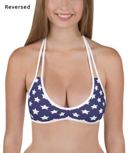american flag fourth of july reversible bikini top
