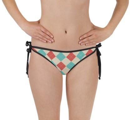 pink gray blue classic argyle bikini bottom bathing suit swimsuit pink