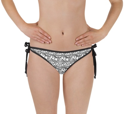 elephant pattern reversible bikini bottom