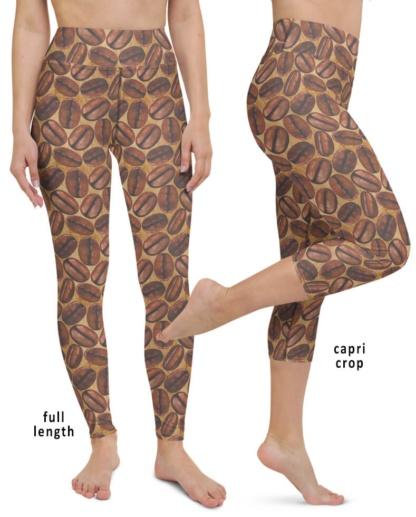 Addicted to Caffeine Lover Coffee Bean girls girl women womens yoga leggings exercise tights