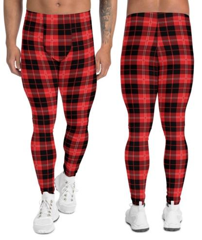Red Blue Gold Black & White Boys Tartan Plaid Leggings Men's Exercise Pants