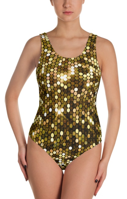 Shimmery metallic gold one piece bathing suit swimsuit