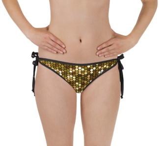 Shimmery pink metallic gold bikini bottom bathing suit swimsuit pink reversible