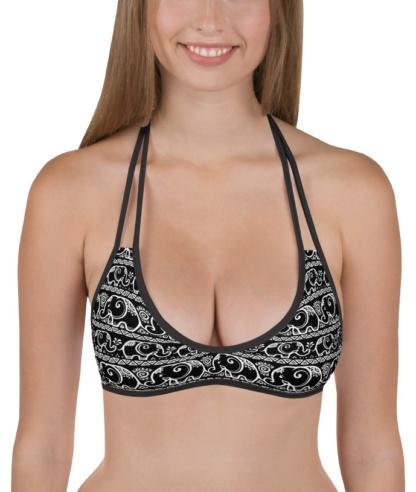 elephant pattern reversible bikini top