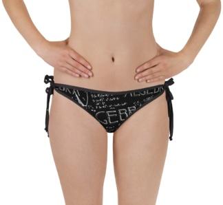 Black chalkboard math maths algebra class bathing suit twp piece reversible bikini