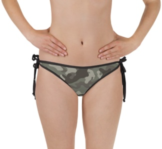 green camouflage swimsuit - camo bathing suit - sports swimwear - camouflage reversible bikini - bottom