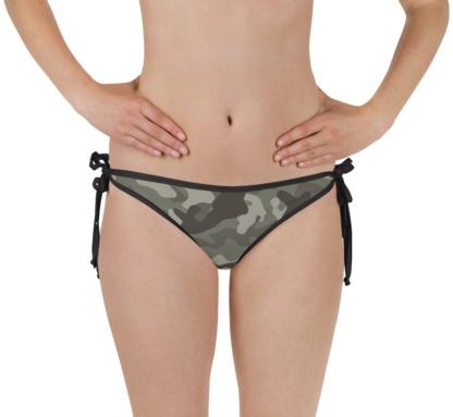 green camouflage swimsuit - camo bathing suit - sports swimwear - camouflage reversible bikini - bottom