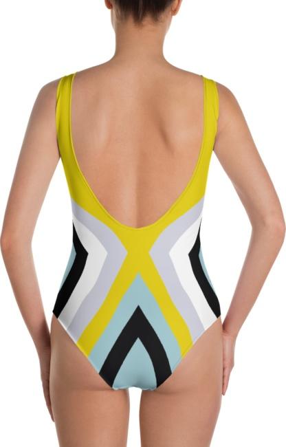 blue yellow white black stripe zig zag X lines one piece bathing suit