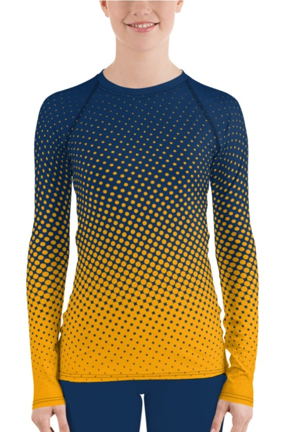 UV protection Surf Top 38-40 UPF - Halftone polka dots rash guard for women's girls exercise top