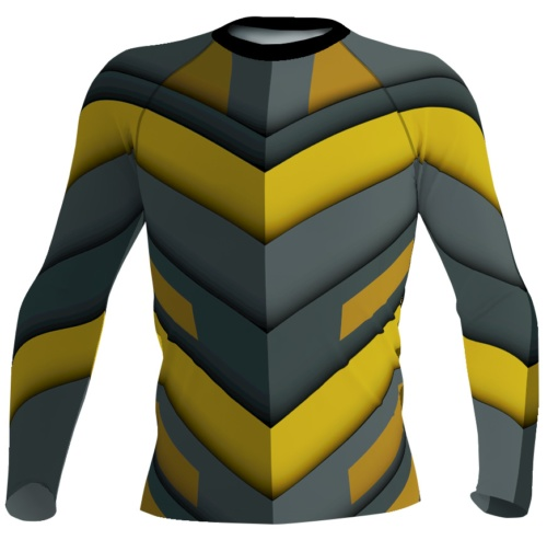 Futuristic spaceship women's rash guard exercise top gray yellow