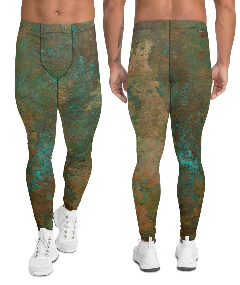 metal copper antique men's leggings exercise tights