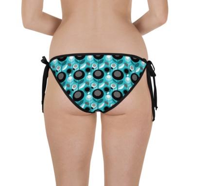 Blue Retro Floral Bikini Bottom