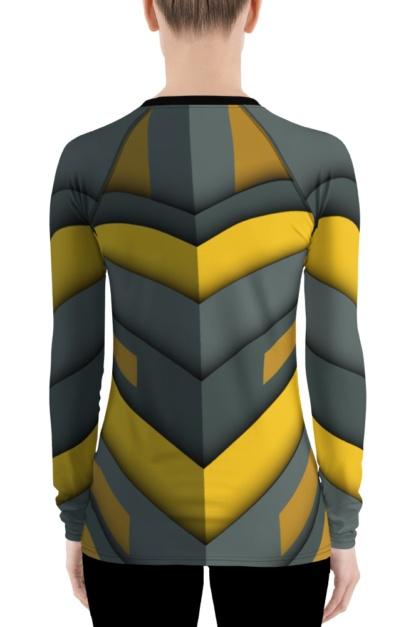 Futuristic spaceship women's rash guard exercise top gray yellow