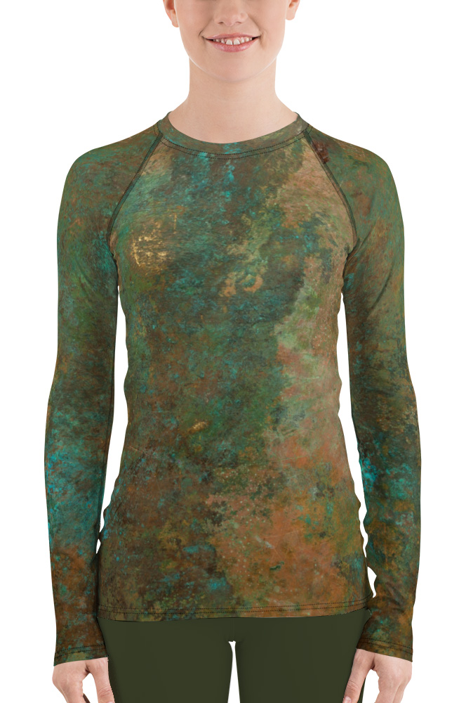 metal copper antique women's rust rash guard exercise tights
