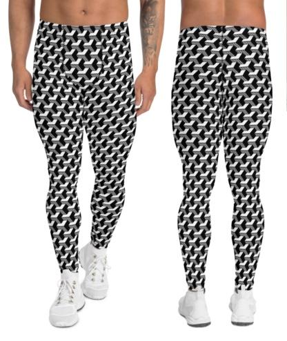 Isometric Striped 3D Men's Leggings