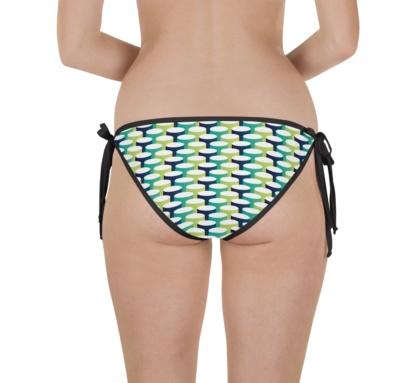 blue green 3d tubes two piece swimsuit bikini bathing suit