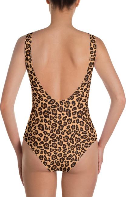 beige leopard skin one piece bathing suit swim suit