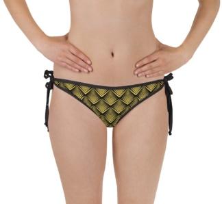 art deco designer gold bikini two piece bathing suit swimsuit