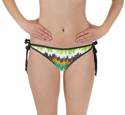 Abstract pixel pixelated two piece bikini bathing suit top bottom