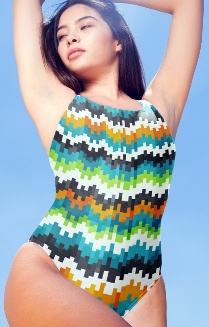 Abstract pixel pixelated one piece bathing suit swimsuit