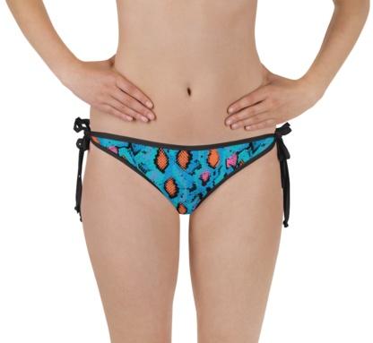 Blue snakeskin two piece bathing suit swimsuit bikini bottom