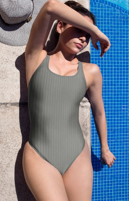 Metal metallic chain mail chainmail one piece swimsuit bathing suit