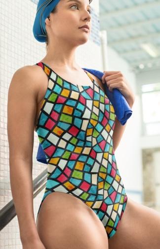 colorful color mosaic mosiac tile tiles designer one piece bathingsuit swimswuit bathing suit swim