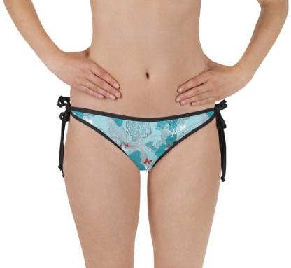 Blue butterfly bikini swimsuit bathing suit